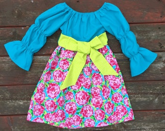 Easter Dress Girls Spring Aqua Hot Pink Green Roses Dresses with sash 6 12 18 24 2T 3T 4T 5/6 7/8 9/10 Sister Sibling Dresses Outfit