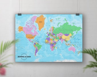 Vintage world map travel map push pin places weve been pin board map push pin world map places weve been personalised gumiabroncs Gallery