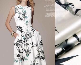 Wedding Dress Fabric Bridal Fabric Shirt Fabric Skirt Fabric Clothing Fabric Flower Fabric Floral Print Silk Satin Fabric By The Yard-SHUIMO