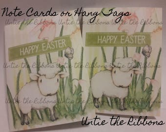 Note Cards or Hang Tags 2x3, Easter, Sheep 8-count,