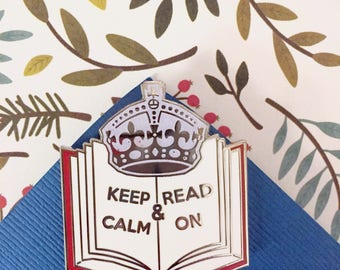 Glitter Keep Calm and Read On Hard Enamel Pin