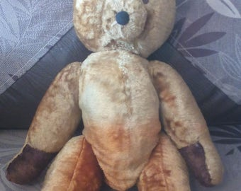Antique Teddy Bear waiting for adoption, plush, 17,3 inches, 1930s,