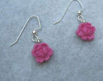 Open Rose Earrings Dangle Drop Shimmery Hot Rose Pink