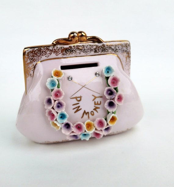 Vintage Ceramic Pin Money Handbag Coin Bank