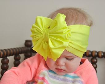 Neon Yellow Messy Bow Headband, Messy Bow, Headwrap, Baby Headband, Turban, Girl Bow, Big Bow, Swim Bow, Floppy Bow, Baby Bow