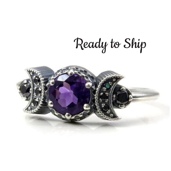 Ready to Ship Size 8.5-10.5 - Triple Moon Ring - Sterling Silver, Amethyst and Black Diamond Engagement