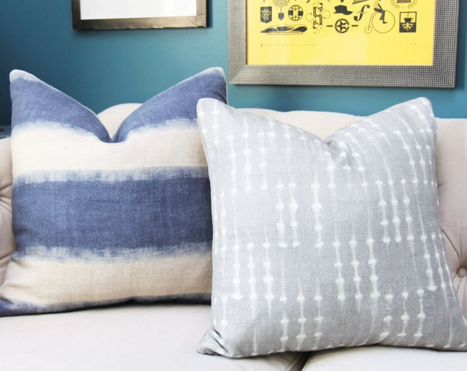 Blue Pillow Cover - Modern Indigo Blue - Blue Linen Pillow Cover - Motif Pillows -Blue and Ivory Stripe - Dark Blue Decor