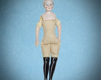 """Antique German bisque dolls' house doll grandpa with gray hair 6 1/4"""""""