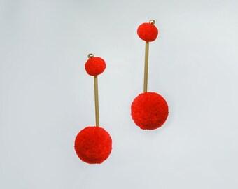 Stud Earrings Dangle Earrings Gold Earrings Statement Earrings Statement Jewelry Drop Earrings Red Pompom Earrings Red Earrings/ POMELA
