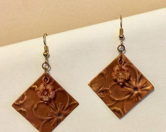 Copper flower embossed earrings with pink picasso flower beads and gold filled earwires