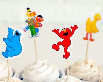 Sesame street cup cake toppers, Sesame street birthday supplies. - 24 pcs