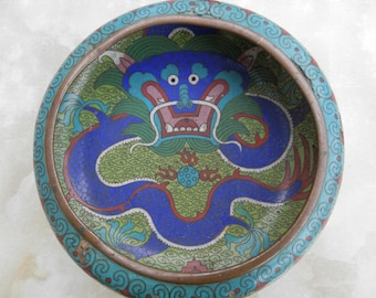 Antique Chinese Cloisonné bowl on wooden stand dating from around 1880/90