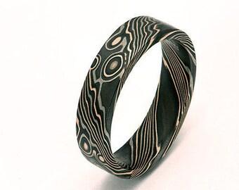 Custom Mokume Gane  14k rose gold, 14 k w palladium  gold and silver ring - woodgrain pattern
