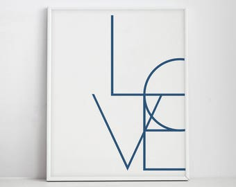 Love Art, Navy Blue, Love Art Poster, Typography Poster, Love Type, Modern Wall Art, Love Poster, Love Printable, Navy Blue Art, Blue Decor