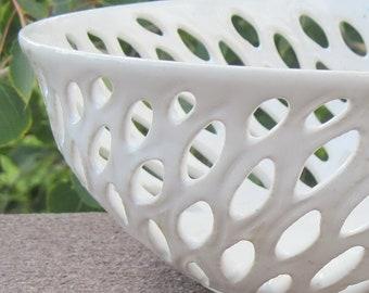 White Leaves Bowl -  Visit shop for more Handmade Pottery