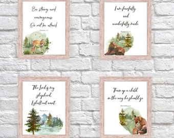 Forest Watercolor Bible Verses. Digital Download