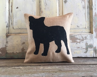 Burlap Pillow - French Bulldog Pillow | Frenchie pillow | Frenchie Decor | French Bulldog decor | Frenchie | Gift for Mom | Gift for Dad