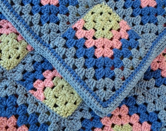 Handmade crochet blanket - Blue, pink, and green granny squares - ready to ship!