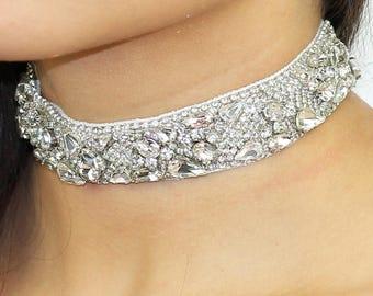 Beaded Choker Necklace / Bridal Crystal Choker / Art Deco Choker / Chunky Crystal Choker / Kristin Perry Choker