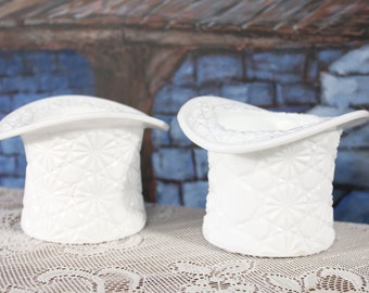Pair Milk Glass Button Daisy and Bows Top Hat Vase Wedding Flower Fuirt Bowl Serving Bouquet Holder cottage chic bathroom office