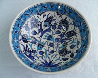 "Turkish ceramic bowl, 10"" bowl, serving bowl, Iznik design, blue and white floral, birthday gift, wedding gift, fruit bowl, decorative bowl"