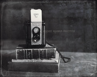 Still Life Photography, Vintage Camera, Vintage Books, Black and White Print