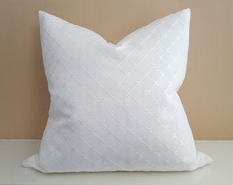 Elegant Pillow, Diamond Pillow, White Pillow, Cottage Pillow Cover, Cream Pillow, Solid Cream Cushion, Shabby Chic Decor, 12x18, 18x18, NEW