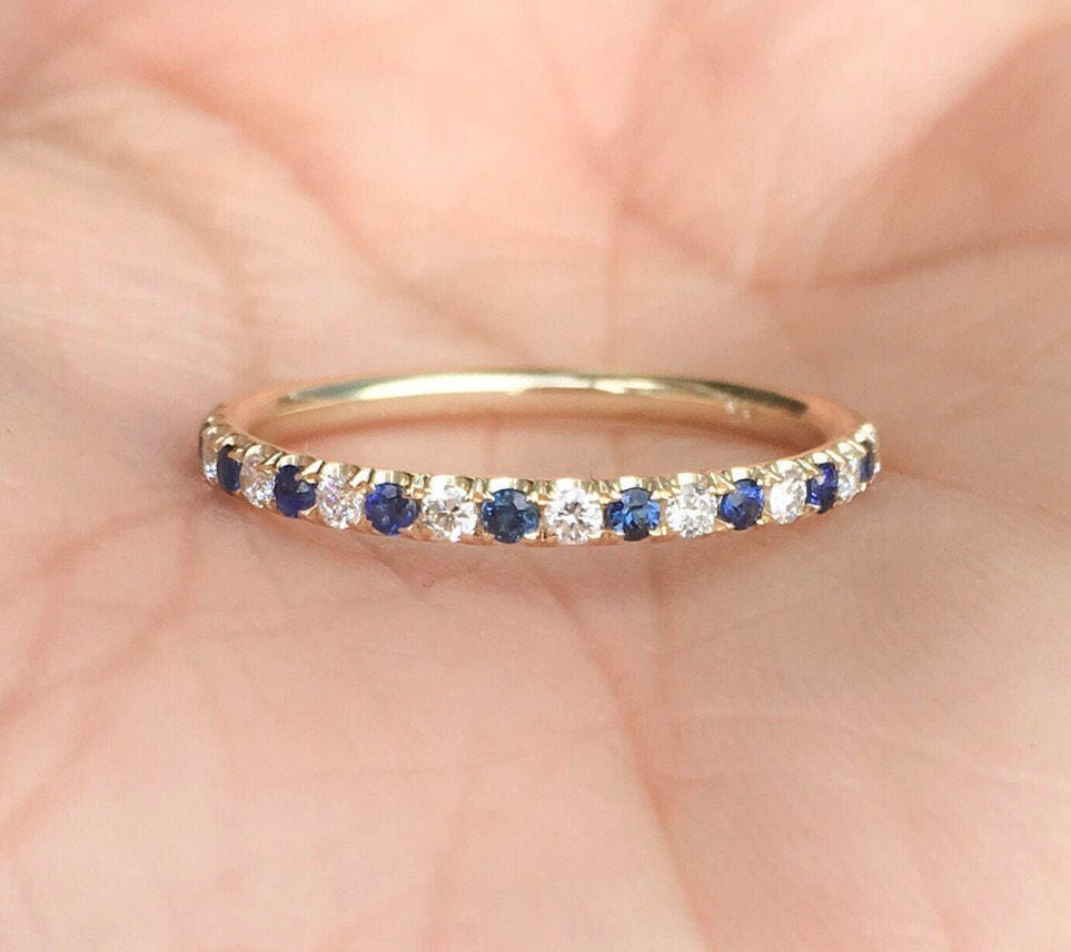 annivery band thin eternity rose pave rings diamond wedding and ring gold bands half anniversary sapphire