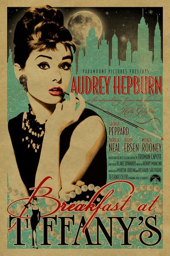 Audrey Hepburn in Breakfast at Tiffany\'s poster.12x18.
