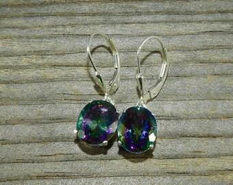 Rainbow Mystic Topaz 4.70 TCW 10 x 8 MM Oval Sterling Silver Leverback Earrings