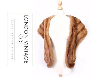 vintage 1930's/1940's/1950's sandy/brown/golden mink real fur stole/wrap/shawl.Vintage bride/vintage wedding/winter wedding