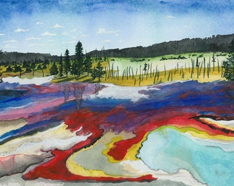 Yellowstone Geyser Basin - 5-Pack of Blank Art Cards - watercolor landscape Montana Wyoming Yellowstone National Park YNP greeting card set