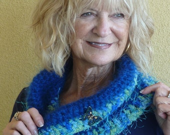 Beautiful infinity scarf in royal blue and shades of green, unique crochet neck warmer, women's original winter scarf, with a butterfly