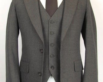 Vintage Sasson Mod Indie Brown Pinstripe Wool 3 Piece Suit Vested Slimfit 36 R Flat Front 29 x 30 EUC Wedding Christmas Holiday Menswear