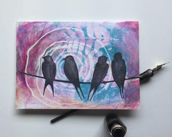 Bird on a wire art Bird silhouette art Notecards Bird on a wire gift / Swallow bird gift Birds on a wire Gift with meaning Aviary note cards