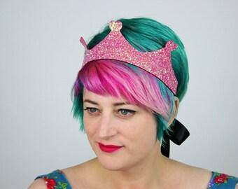 Glitter Princess Crown Headband, Various Colours