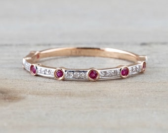 14k Rose Gold Thin Round Cut Ruby And Diamond Wedding Engagement Pave Stackable Stack Promise Ring Anniversary Band