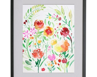 Original watercolour flower painting watercolour  floral pattern  design spring, landscape,Wall art,flower, home decor,roses,red,