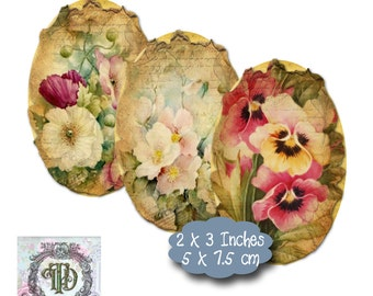 9 Shabby Floral Ovals