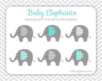 Baby Elephant clip art, Elephant clip art, baby shower clip art, teal elephants, Commercial Use Clip Art, 6 PNG Images, INSTANT DOWNLOAD