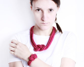 Cord necklace and/or bracelet in burgundy