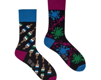 Painting socks | men socks | colorful socks | cool socks | mismatched socks | women socks | crazy socks | patterned socks