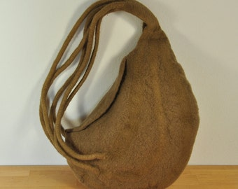 Felted Bag, Beige, Merino Wool, collectible,felt, hand felted, one of a kind, one off, unique