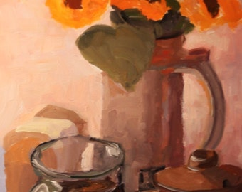 Art and collectibles, Flowers,Original oil still life, 8x10 painting,  wall candy, fine art and collectibles, modern impressionist, painting