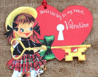 Retro Key To My Heart Valentine Gift Tags or Hang Tags #328