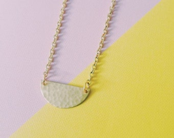 Brass Hammered Semi-Circle Necklace - 'The Short Half'
