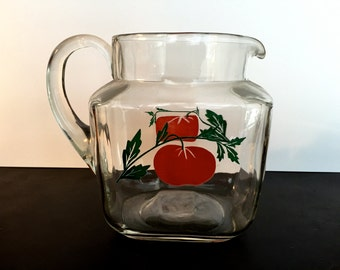 Vintage Clear Glass Juice Pitcher, Pitcher with Red Tomato Design, Mid-Century Glass Pitcher, 1950s Clear Glass Pitcher