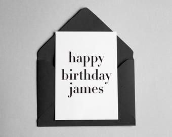 "Personalized Birthday Card - Contemporary Minimalist - ""Happy Birthday *Name*"""