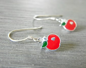 Sterling Silver Red Enamel Apple Earrings Dangle Earrings Fruit Earrings