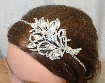 OOAK 1930s Art Deco Headband,Vintage Wedding Hairpiece, Rhinestone Vine Bridal Hairpiece, Silver Flapper Great Gatsby Downton Jewelry Floral